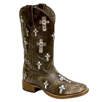 Roper Distressed Brown with Cross Inlay Square Toe Women's Boot