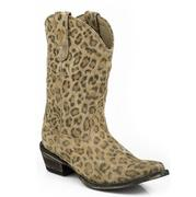 Roper Western Leopard Suede Tan Boots