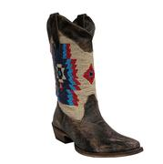 Roper Womens Distressed Brown Blue Beaded Boots