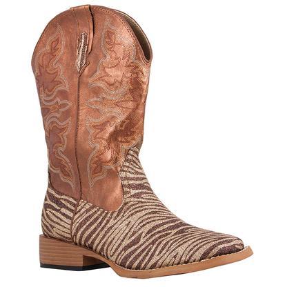 Roper Women's Brown Glitter Zebra Print Western Boots