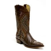 Roper Womens Dark Sanded Brown Aztec Print Boot