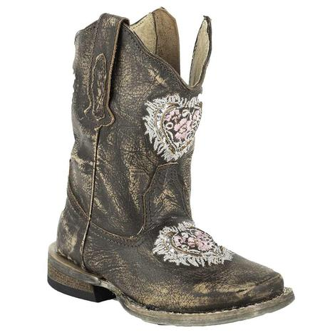 Roper Toddler Girls' Destiny Floral Heart Cowgirl Boots