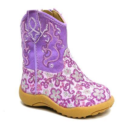 Roper Cowbabies Purple Sparkle Flower Boots