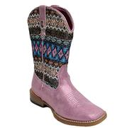 Roper Aztec and Pink Metallic Vamp Kids Cowgirl Boots