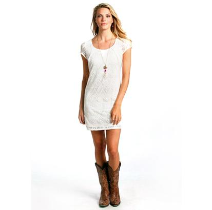 Rock & Roll Cowgirl White Lace Capsleeve Dress