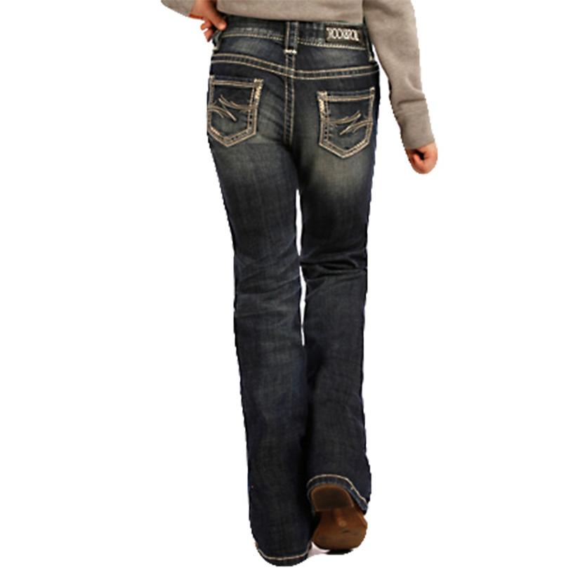 Rock & Roll Cowgirl Girls Dark Vintage Bootcut Jeans