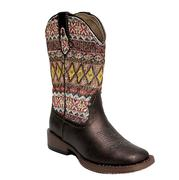 Roper Aztec and Metallic Brown Kids Cowgirl Boots