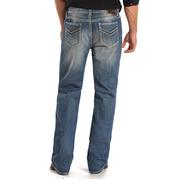 Rock & Roll Cowboy Mens Double Barrel Low Rise Medium Wash Relaxed Fit Straight Leg Jeans