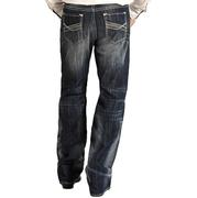 Rock & Roll Cowboy Mens Dark Vintage Double Barrel Relaxed Fit Straight Leg Jeans