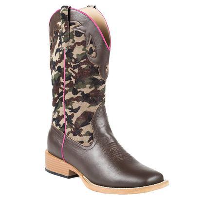 Roper Western Camo Square Toe Brown Boots