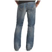 Rock & Roll Cowboy Mens Medium Vintage Wash Abstract Raised Denim Double Barrel Relaxed Fit Bootcut Jeans