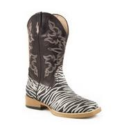 Roper Kids' Zebra Print Glitter Cowgirl Boots