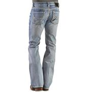 Rock & Roll Cowboy Mens Pistol Bootcut Abstract Stitched Pocket Jeans