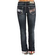 Rock & Roll Cowgirl Women's Juniors Stars & Stripes Boyfriend Jeans Dark Wash