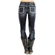 Rock & Roll Cowgirl Womens Mid Rise Dark Vintage Jeans