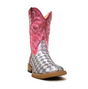Roper Kids' Silver/White Glittery Checkered Cowgirl Boots