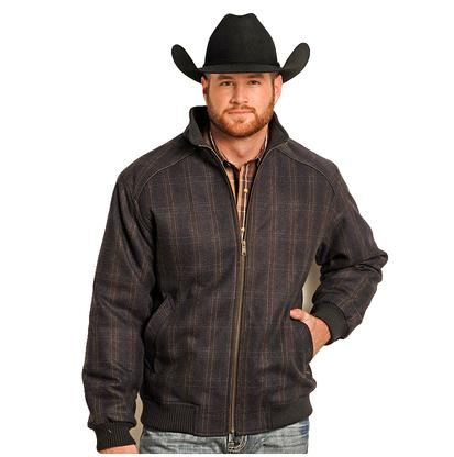 Rock & Roll Cowboy Mens Brown Plaid Wool Bomber Jacket