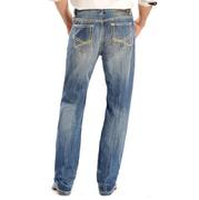Rock & Roll Cowboy Mens Double Barrel Straight Khaki Stitched Jeans