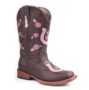 Roper Kids Faux Leather Floral Horseshoe Embroidery Boots