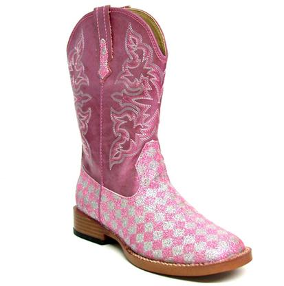 Roper Kids' Pink and White Glittery Checkered Cowgirl Boots