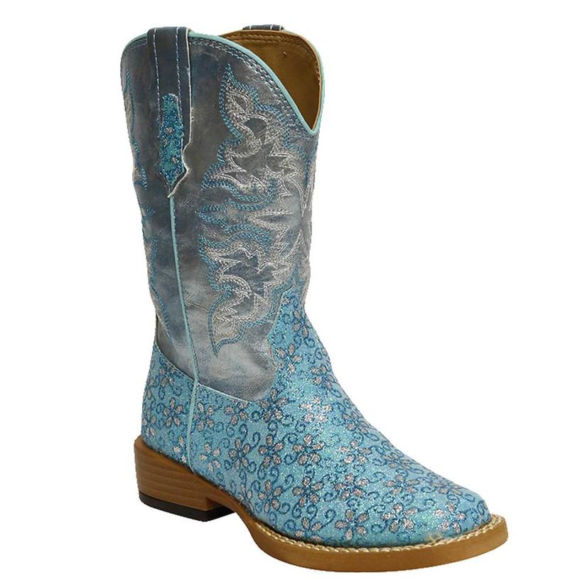 Roper Kids ' Turquoise Glittery Floral Cowgirl Boots