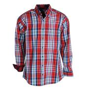 Rock & Roll Cowboy Mens Panhandle Slim Roughstock Red Plaid Long Sleeve Shirt