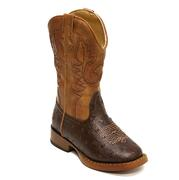 Roper Kid Boy's Cowboy Cool Faux Ostrich Brown Boots