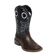 Roper Holey Brown and Blue Square Toe Kids Cowboy Boot