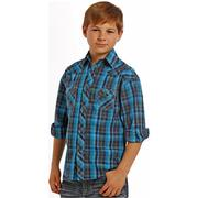 Rock & Roll Cowboy Boys Long Sleeve Plaid Snap Shirt