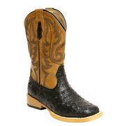 Roper Kid's Black Brown Faux Ostrich Leather Square Toe Cowboy Boot