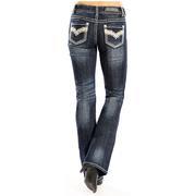 Rock & Roll Cowgirl Women's Boot Cut Dark Vintage Jeans