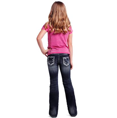 Rock & Roll Cowgirl Girls Silver Lurex & Rhinestone Pocket Jeans