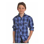 Rock & Roll Cowboy Boy's Long Sleeve Plaid Snap Shirt