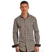 Men's Brown Turquoise Plaid Slim Fit Button Shirt