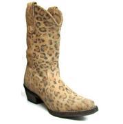 Roper Kid's Distressed Leopard Print Snip Toe Boots