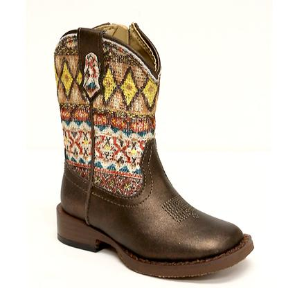 Roper Infant Girls Aztec Metallic Brown Glitter Boot