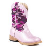 Roper Western Girls Camo Glitter Bling Pink Boots