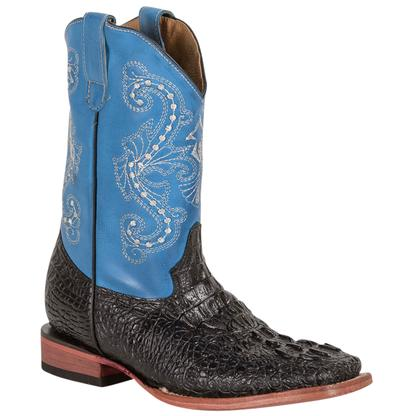 Ferrini Black Crocodile Blue Kid Boots