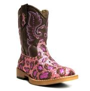 Roper Toddler Pink Brown Cheetah Glitter Square Toe Boots