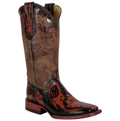 Ferrini Burnt Orange Embossed Cross Brown Womens Boots
