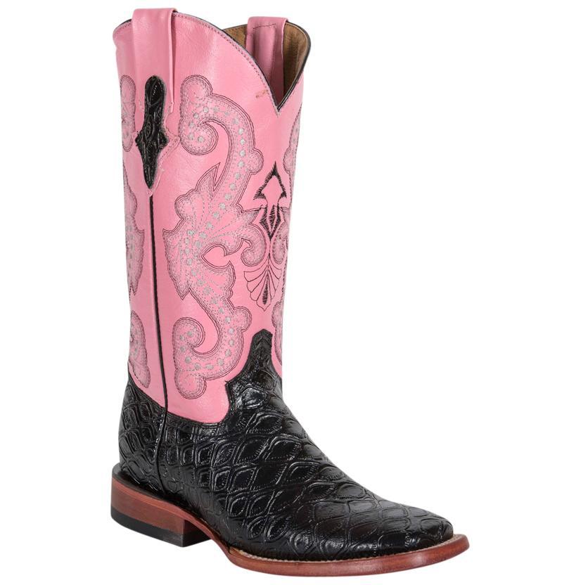 Ferrini Womens Black Anteater Print Pink Top Boot