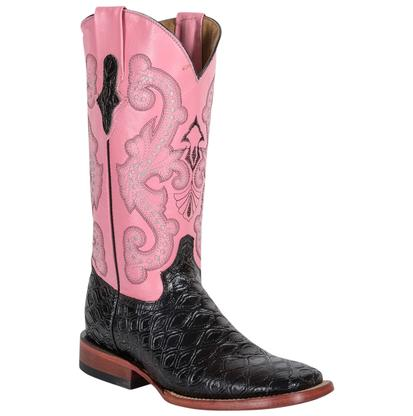 Ferrini Black Anteater Print Pink Top Womens Boot