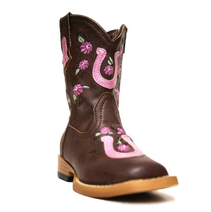 Roper Infant Pink and Brown Horseshoe Cowgirl Boots