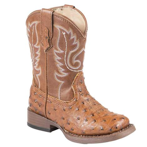 Roper Toddler Tan Ostrich Boots