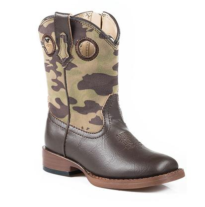 Roper Girls Camo Brown Western Boots