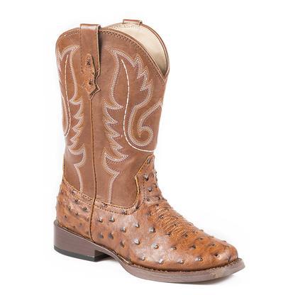 Roper Kid's Ostrich Print Square Toe Cowboy Boots
