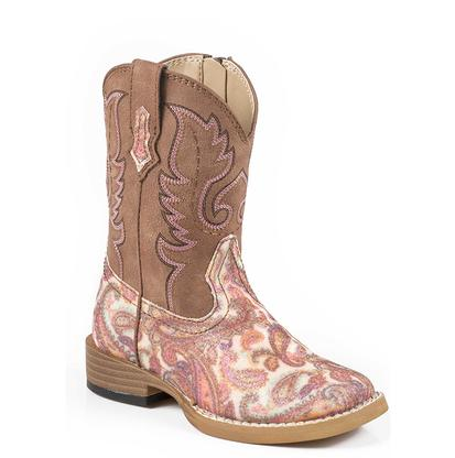 Roper Pink Paisley Glitter Toddler Boots