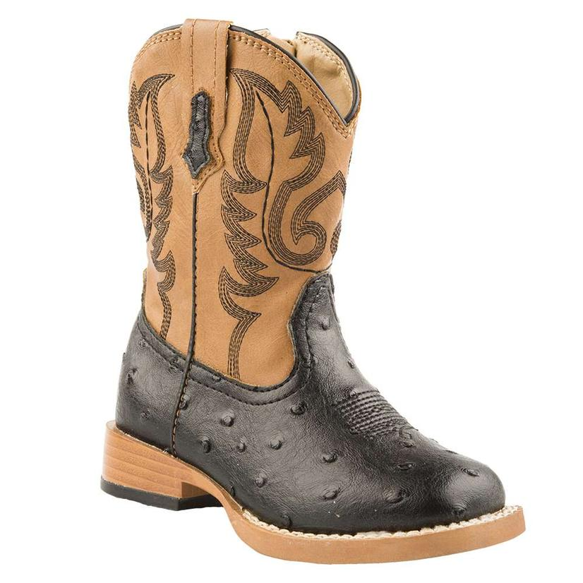 Roper Toddler Black Tan Ostrich Print Boots