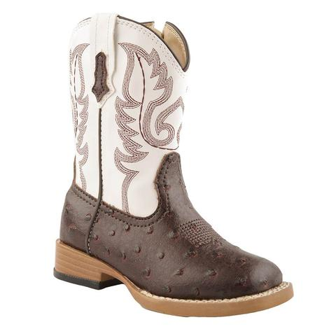 Roper Toddler White Brown Ostrich Boots