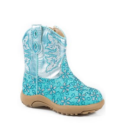 Roper Turquoise Floral Glitter Infant Boots